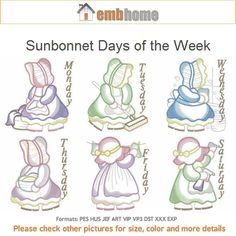 Sunbonnet Days of the Week Girl Machine Embroidery by embhome