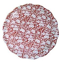 Red Calico Cake Plate