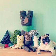 thelittledromstore:    New Donna Wilson goodness just arrived this Christmas!  Available for sale at the little dröm store are: big ted, patch cat, suki mushroom, oak leaf & fir tree. pipi the pug not included!