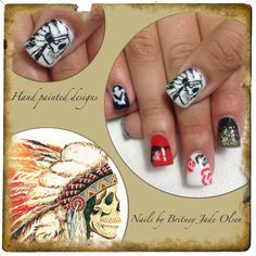 Native american western theme. Hand painted nail art