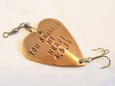 Anniversary Gift for Husband Anniversary Gift for Boyfriend 7th Copper Fishing Lure Custom Fishing Hook You Snagged My Heart Gift for Him