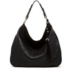 Ella Moss Groupie Hobo Bag ($298) ❤ liked on Polyvore featuring bags, handbags, shoulder bags, purses, bolsos, bolsas, black, tassel handbag, round purse and handbags purses