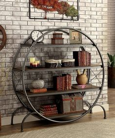 Take a look at this Deshca Metal & Wood Round Bookshelf today!