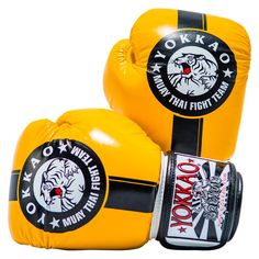 See our Official Fight Team gloves in yellow and black. Made with triple density foam for unparalleled impact distribution. Muay Thai Gloves, Martial Arts Equipment, Boxing Gloves, Yellow Black, Destro, Comfort, Sports, Hs Sports, Martial Arts Gear