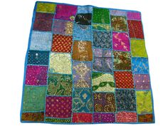 Blue Tapestry Home Decor Sari Patch Tablecloth by MOGULGALLERY