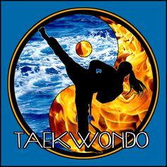 Ata Taekwondo, Taekwondo Kids, Taekwondo T Shirt, Frases Taekwondo, Judo, Fire Vs Water, Tae Kwon Do, Yin Yang Designs, Belt Display
