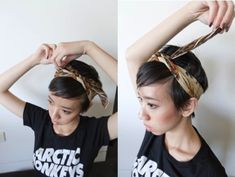 Headscarf how-to: 3 ways! Added added this video I made - it has different styles and will be handy for the more video tutorial-inclined people :) I know this post probably isn't very. Pigtail Hairstyles, Bobby Pin Hairstyles, Headband Hairstyles, Braided Hairstyles, Hair Scarf Styles, Short Hair Styles, Bad Hair, Hair Day, Short Hair Accessories