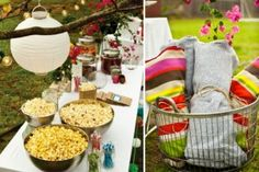 Movie night popcorn bar- we have a giant projection screen, let's have a backyard movie one night this summer