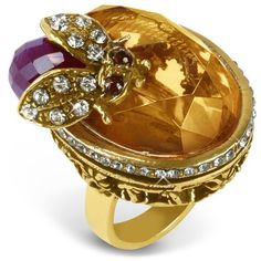 Alcozer & J Crystal Bee Brass Ring ($349) ❤ liked on Polyvore featuring jewelry, rings, accessories, gioielli, jewels, crystal rings, statement rings, crystal stone rings, cocktail ring and brass ring