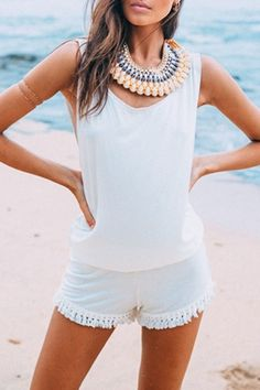 White Open Back Sleeveless Tassel Playsuit