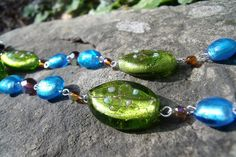 OOAK Blue Green and Brown Lampwork and Czech Glass by EgeriasWell, $80.00