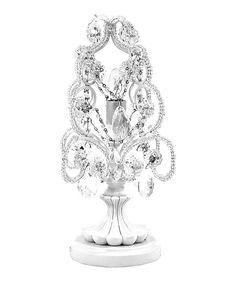 sleeping partners white diamond chandelier mini table lamp