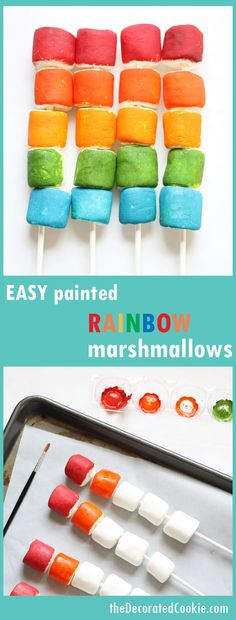 EASY Painted Rainbow Marshmallows On a Stick ~ The Decorated Cookie