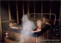 .http://www.extranormal.eu    THE HOT TUB!  I have attached a picture of a strange apparition who decided to join my sisters and me in a weekend retreat in the mountains. The presence has been with my family for many generations.  This photo was taken in November 1996 and when I was able to develop the film I was shocked and thrilled. I was finally able to confirm what we had always said we had a presenza. http://www.extranormal.eu