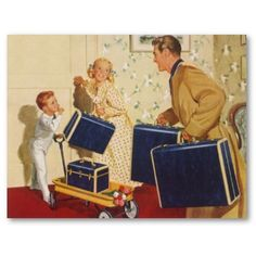 Shop Vintage Family Vacation, Dad, Kids and Suitcases Postcard created by YesterdayCafe. Personalize it with photos & text or purchase as is! Vintage Gifts, Vintage Ads, Vintage Posters, Vintage Trends, Retro Gifts, Vintage Photos, Family Reunion Invitations, Family Illustration, Travel Images