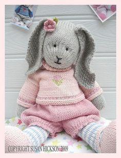Bunny Knitting Pattern/ Toy Knitting Pattern/ by maryjanestearoom