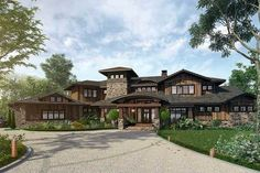 <div><ul><li>Striking good looks draw attention to the rustic exterior of this huge Mountain house plan.</li><li>Every room inside is spacious with sweeping views that come from the marvelous open layout.</li><li>The giant island in the kitchen has room to seat six people with room to spare.</li><li>The kitchen sink faces the outdoor living area with its outdoor fireplace.</li><li>Wrapping around most of the...