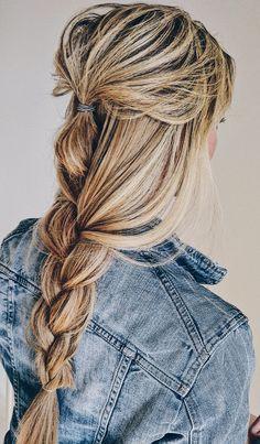 Long messy braid blonde