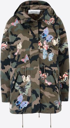 Valentino | Multicolor Camouflage Parka + Embroidered Butterflies | Lyst