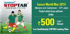 #Predict the winner between #Mexico & #Cameroon in Soccer World War 2014 on 13th June.  http://www.foreseegame.com/user/GamePlay.aspx?GameID=1xvEM8R2s38LX504hDpurg%3d%3d