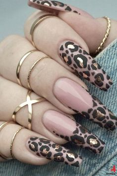 Fancy Nails, Bling Nails, Gorgeous Nails, Pretty Nails, Leopard Nail Designs, Brown Nail Designs, Leopard Print Nails, Nagellack Design, Long Acrylic Nails