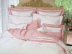 Scallopino #Luxury Bedding #Italian Bed Linens #Schweitzer Linen As fresh as the breeze coming in from the sea, finest 100% Egyptian cotton sateen, 600 thread count is edged with embroidered scallops inspired by gentle waves lapping at the shore.