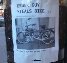 Funny pictures about Drunk guy steals bike. Oh, and cool pics about Drunk guy steals bike. Also, Drunk guy steals bike. Canadian Things, I Am Canadian, Canadian Humour, New Funny Pics, Funny Photos, Funny Stuff, Fun Facts About Canada, Funny Signs, Funny Memes