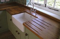 love this- color, wood, sink ...