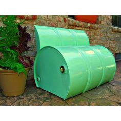 Drum Barrel Mint Green Metal Outdoor Bench