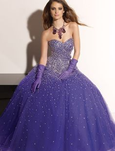 Beaded Tulle Sweetheart Strapless Prom Dress