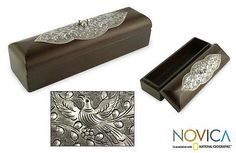 Nickel and wood box - Birds and Romance | NOVICA