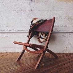 leather and wood folding chair