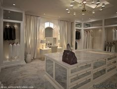 lets see..marble floors, mirrored custom island, inset complete w/arched window, vanity center, custom drapery, back lit custom cabinetry, custom ceiling, cream chandelier, & as if that wasn't enough....a Birkin!!!!!