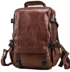cb6c26169e Brown Leather Laptop Backpack with many Pockets