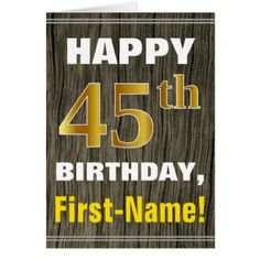 #Bold Faux Wood Faux Gold 45th Birthday  Name Card - #birthday #gifts #giftideas #present #party