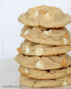 Soft White Chocolate and Butterscotch Chip Cookies recipe. Can't wait to try this dessert recipe!