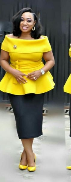Yellow African Dresses For Women, African Print Dresses, African Attire, African Wear, African Fashion Dresses, African Women, Ghanaian Fashion, African Prints, Curvy Girl Fashion