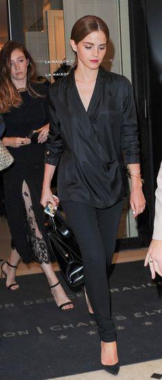 Emma Watson wearing Stocking Maria Super Skinny Legging in Veil. #JBRAND