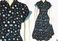 Vintage 50s Dress 1950s Dress Bubble Print Dress by KayDoveVintage