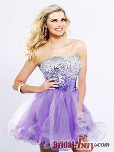 Buy Custom Made High Quality Shinning Cute Princess Strapless Sequins Short Organza Homecoming Dress HD-9279 at wholesale cheap prices from Bridal-Buy.com
