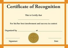 Certificate of Recognition Templates: Best Ideas and Free Samples - Demplates Certificate Of Recognition Template, Certificate Design, Certificate Templates, Certificate Of Appreciation, Free Samples, Are You The One, Success, Good Things, Words