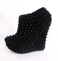 studded all black wedge bootie