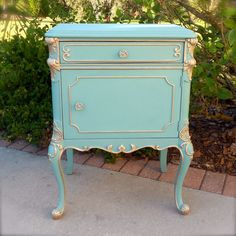 Oh So Provence Antique French Provincial Chic Nightstand Bedside End Side Entry Cabinet Table - Hand Painted Blue Green Turquoise