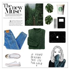 """🍃🍃🍃"" by cilka-nedbalova on Polyvore featuring Converse and Levi's"