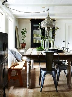 beautiful boho chic dining area. love the daybed come seating, the