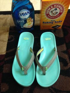 How to Clean Flip Flops/ Shoes Sandals  Baking Soda and Dawn dish soap. Get shoes wet and let a layer of baking soda soak for 5 minutes. Get a scrub brush and use some drops of soap to scrub in circles. Shoes come out perfectly clean!