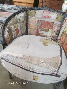 A Unique Way to Repair a Slipcover - Living Vintage ~ Carol Bolton Hicks ~ Velveteen Rabbit Chairs
