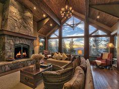 2544 N Summit Pl, Truckee, CA 96161 - ® - Log cabin homes - Mountain Home Interiors, Modern Mountain Home, Cabin Interiors, Mountain Homes, Mountain Living, Dream Home Design, My Dream Home, House Design, Design Design