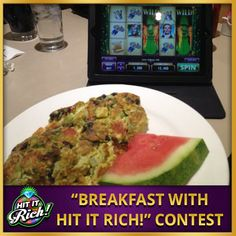 It's contest time! Put up a picture of you playing Hit It Rich! with your breakfast and be sure to include the hashtag #hititrich in your Pin. (So we can find it!)  The more Pins we get, the more coins we'll give away on Friday (January 17). If you haven't already become a follower of our Boards, now is a great time to do so!  When you're done, head into the casino and have some fun at the reels --> http://zynga.tm/rsJ