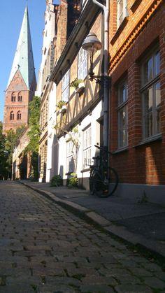A Beautiful Street in Lübeck and a Church - St. Aegidien Kirche und Weberstraße